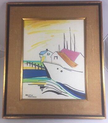 Original RALSTON CRAWFORD Watercolor Painting Boats At A Marina Sea Ocean Signed