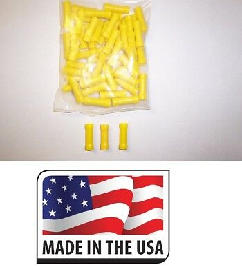 (500 PC) 12-10 YELLOW VINYL BUTT CONNECTOR ELECTRICAL WIRE TERMINAL MADE IN USA