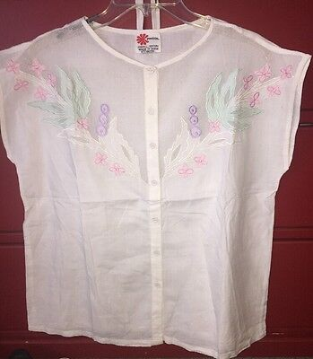 Vtg 70s 80s Floral MESH Top India PHOOL Embroidered Appliqué Blouse Tank Medium