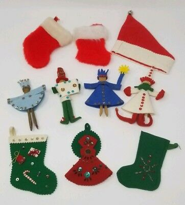 Vintage Felt Clothes Pin Elf Christmas Ornament Holiday Decoration Mini Stocking - Mini Vintage Halloween Ornaments