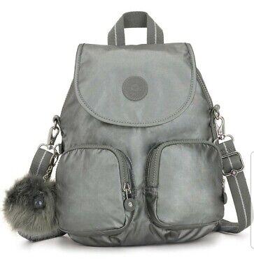kipling FIREFLY grey metallic stony convertible x body backpack 7.5L New Rrp£93