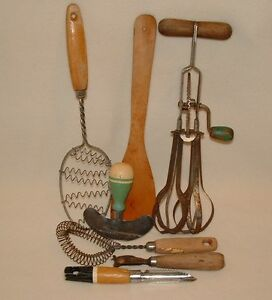 Vintage Kitchen Items Wood Handled Whisks, Egg Beater, Peeler, Can Opener 7 Pcs