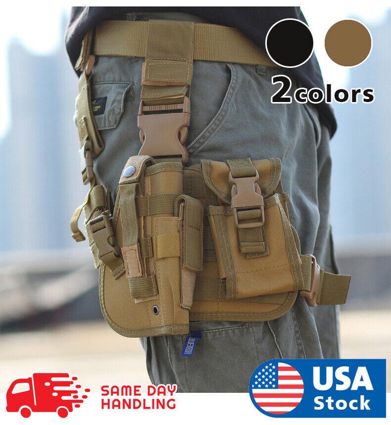 Tactical Molle Drop Leg Platform & Handgun Pistol Holster Thigh Gun Adjustable Holsters