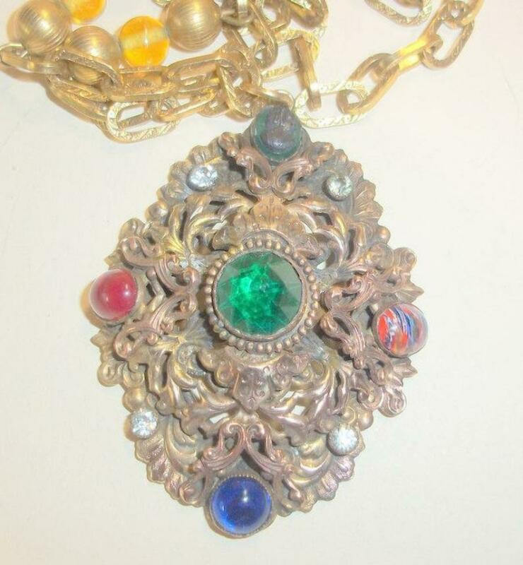 Vintage Unique Cameo and Stones Pendant Necklace