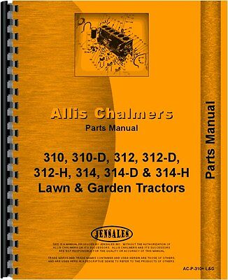 Allis Chalmers 300 Series Lawn Garden Tractor Parts Manual Ac-p-310 Lg