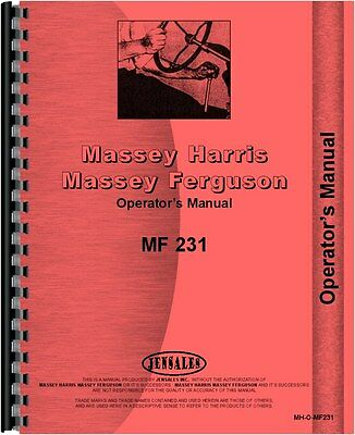 Massey Ferguson 231 Tractor Operators Manual 1989-1999 Mh-o-mf231