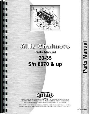 Allis Chalmers 20-35 Tractor Parts Manual Sn 8070-16436