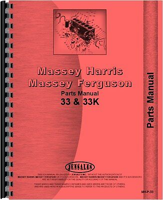Massey Harris 33 Tractor Gas Kerosene Parts Manual Mh-p-33
