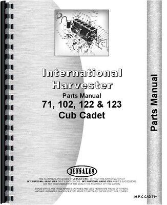 International Cub Cadet 122 71 102 123 Lawn Garden Tractor Parts Manual Catalog