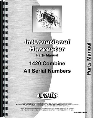 International Harvester 1420 Combine Parts Manual All Sn