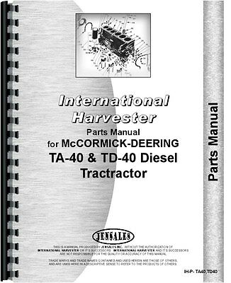 International Harvester Crawler Parts Manual Ih-p-ta40td40