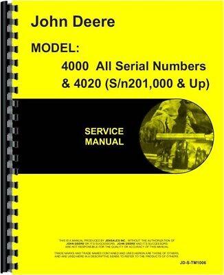 John Deere 4020 4000 Tractor Technical Service Repair Manual Tm1006