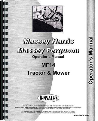 Massey Ferguson 14 Lawn Garden Tractor Operators Manual