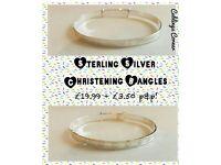Sterling Silver Christening Bangles