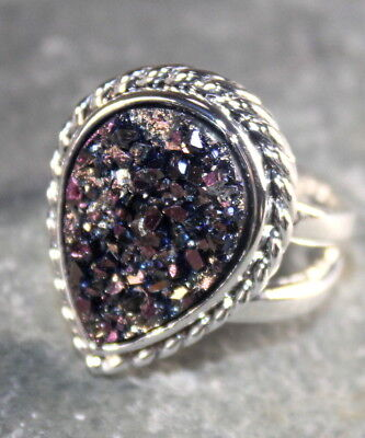 - SILVER Vintage Style Dark Purple Golden Titanium Druzy Teardrop Ring, WR12021