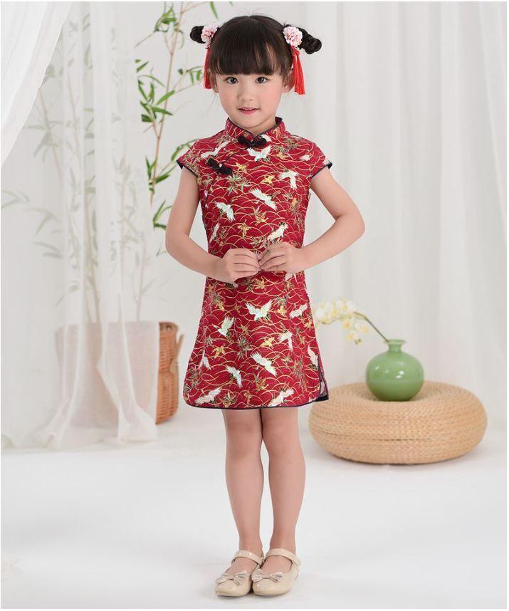 Chinos Niños Niñas China Rojo y Oriental Grullas Qipao Cheongsam Vestido gcd5 | eBay