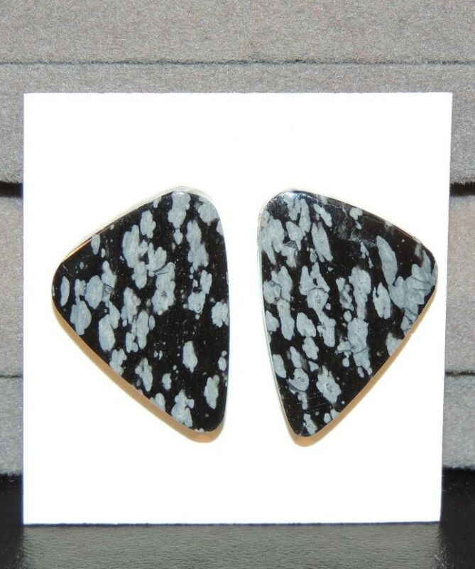 Snowflake Obsidian Cabochon 23x17mm Free Form set of 2 (7433)