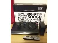 Sky+ HD Box, Wifi Router and Sky Satellite Dish with all cables