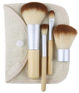Eco Friendly BAMBOO Cruelty Free 4Pc Cosmetic Make Up Brush Set & Hemp Linen Bag