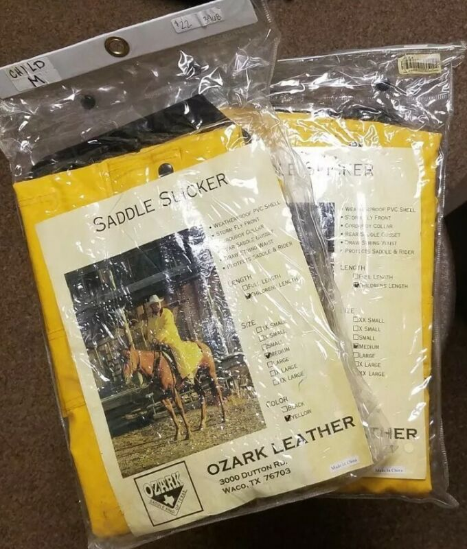 NIP Childs Medium Rain Slicker Western Cowboy Yellow Saddle Rodeo Roping trail