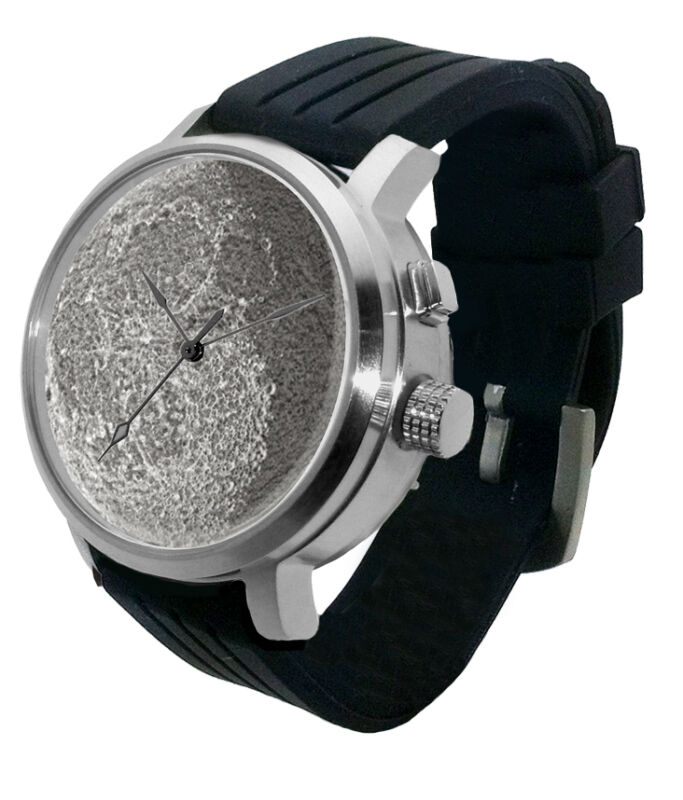 Full Moon 3D Watch: LED light lithophane, lunar dark side phase glow astro steel
