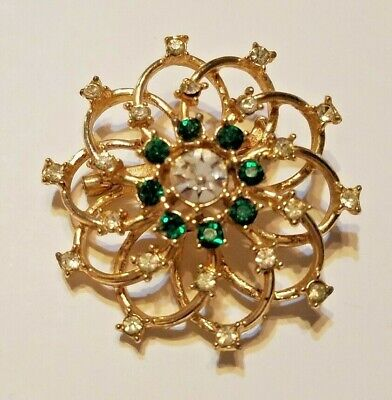 Vintage clear & emerald  Rhinestone Brooch Pin Swirling Prong set floral -