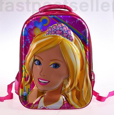 "17"" New Barbie Girl 3D Girls Kids Large School Backpack Ruck"