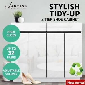 32 Pairs High Gloss Shoe Cabinet Rack Organisers Storage