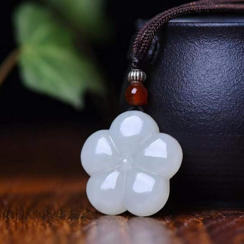 Natural 100% Hetian Jade Five Petal Flower Hand Carved Pendants New with Tags