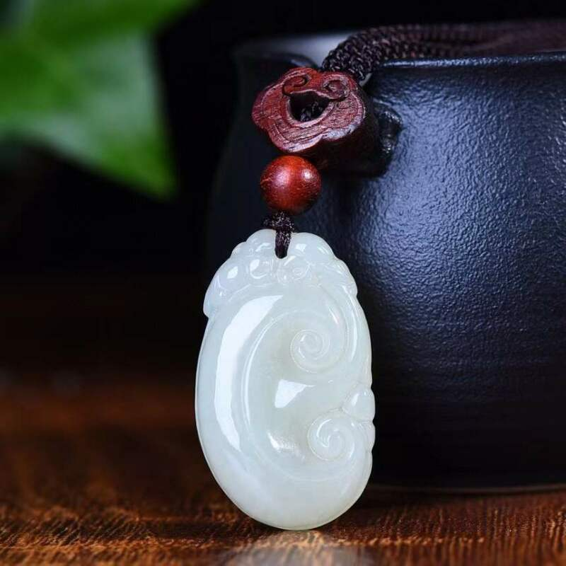 Natural 100% Hetian Jade Ruyi Hand Carved Exquisite Pendants  New with Tags