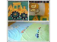 Boy bedding set: Duvet quilt cover cars trains, bedroom rug Digger, lion pillow