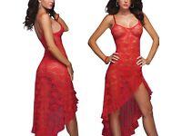 Women Sleepwear Lingerie Underwear Long Lace Sexy Babydoll Nightwear Red UK M £20.00 FREE PP