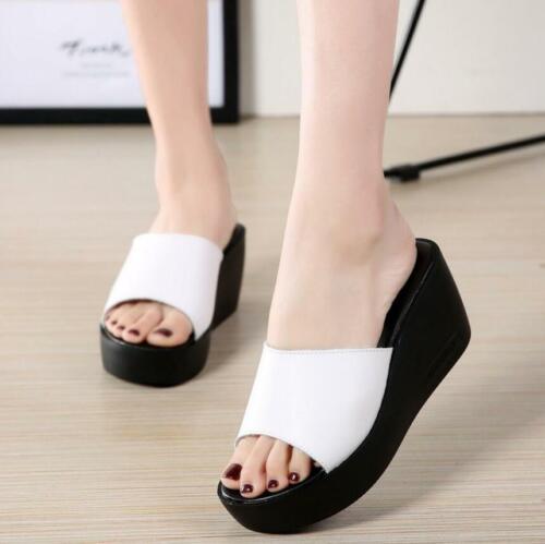 New Women Slide Slipper Wedge High Heel Platform Sandals Shoes Fashion Mules
