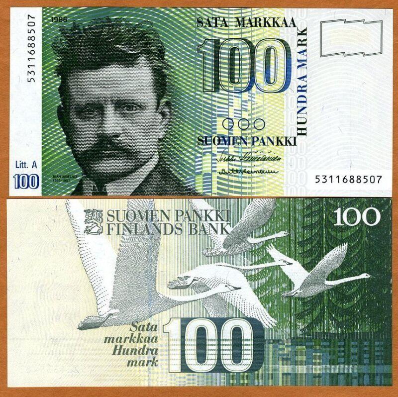 Finland, 100 Markkaa, 1986 (1991), P-119, pre-Euro, UNC