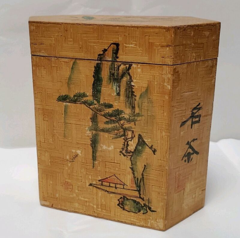 Vintage Chinese Bamboo Tea Box Caddy Canister Hand Painted