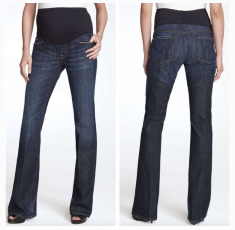 Citizens Of Humanity Size 28 Maternity Belly Panel Bootcut Dark Wash Jeans