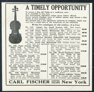 1923 Carl Fischer antique violin photo for-sale list vintage print ad
