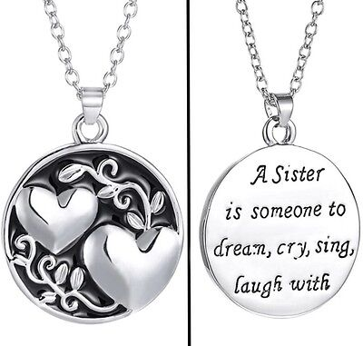 Silver Toned Circle Sister Necklace Double Sided Two Hearts Sister Gift