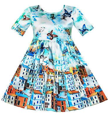 Party City Winter Springs (US Seller Girls Dress Satin Blue Sky Butterfly City Building Print Size)