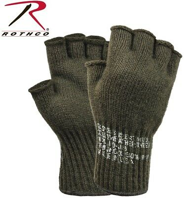 Olive Drab Green Military Fingerless Wool Gloves Skiing Gloves USA Rothco - Green Gloves