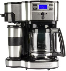 Hamilton-Beach-49980Z-2-Way-Brewer-12-Cup-CoffeeMaker-Coffee-Singe-Cup-LCD-w-Mug