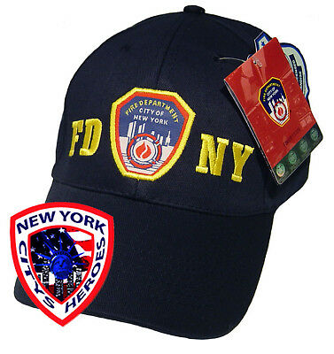 FDNY CLOTHING APPAREL LOGO BLUE/GOLD BASE BALL HAT CAP