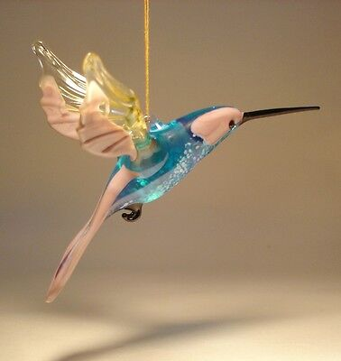 Blown Glass Figurine Art Bird Lilac, Blue & Clear Hanging HUMMINGBIRD Ornament