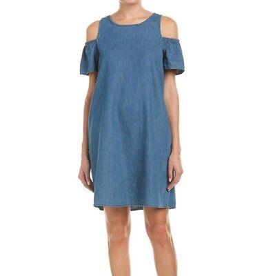 Nwt JOE´S Jeans Szs Aline Kalte Schulter Rüschenärmel Kleid in Medium Blau (Medium, Blau Kleid)