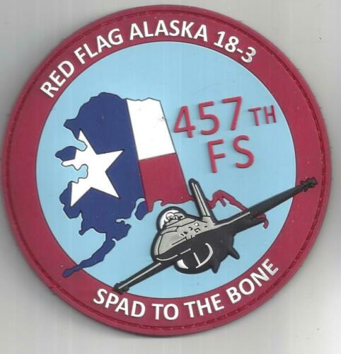 PATCH USAF 457TH FIGHTER SQ F-16 RED FLAG ALASKA 18-3  PVC                     M