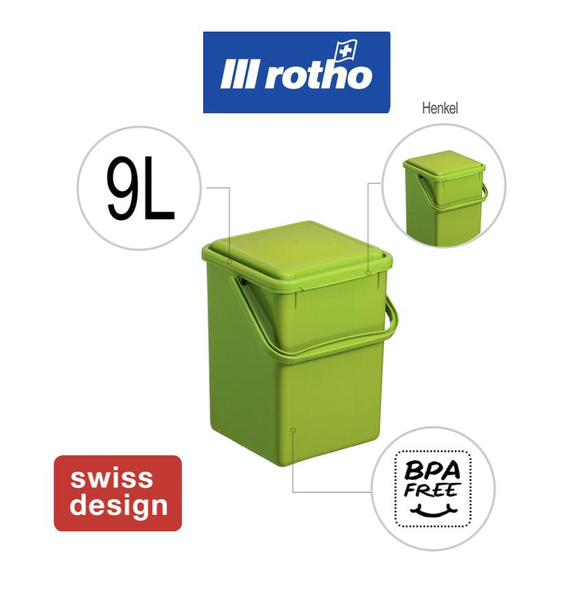 Rotho Kompost Eimer Bio Mülleimer Tisch Abfall geruchsdicht Deckel Filter 9