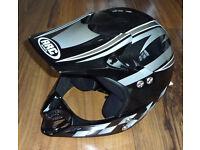 Motorcycle Moto X Crash Helmet new but unboxed. Black & Silver. Canvey Island