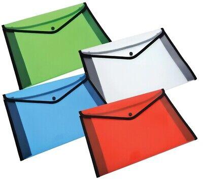 1pc Plastic Nylon File Folders with Snap Closure Button 4 Colors For A4 - Plastic Folders