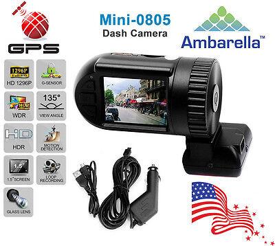 1296p Full HD Mini 0805 Ambarella Dash Cam Car DVR Dash Camera w/ GPS Logger US