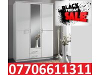 BLACK FRIDAY 50% OFF WARDROBES WHITE NEW 3 DOOR 2 DRAW ROBES 5 ONLY LEFT